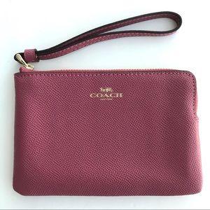 COACH classic corner zip wallet Hot tulip pink